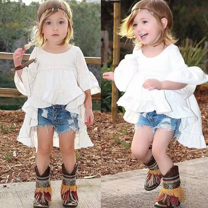 Blanco Ruffled algodón trajes Top vestido blusa 1 Uds niños niñas ropa bonita elegante princesa ropa niñas nuevo