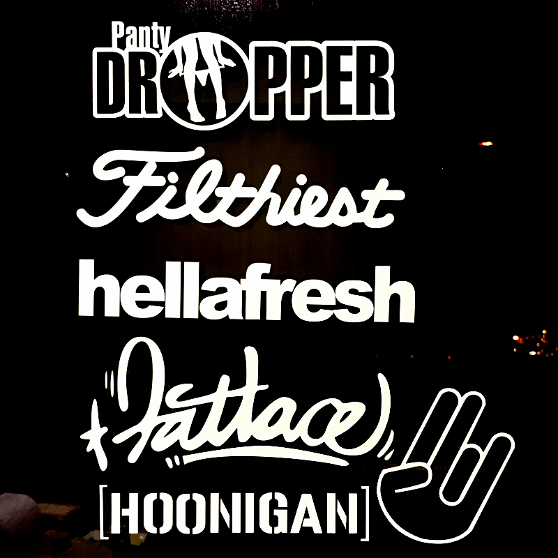 6Pcs/lot Hoonigan car Sticker Pack White Free Shipping Panty Dropper White hellafresh filthiest fatlace truck die cut decals free shipping 1pc 580mm dirty tire 4wd off road graphic vinyl sticker for 4x4 truck pickup decals badges detailing sticker