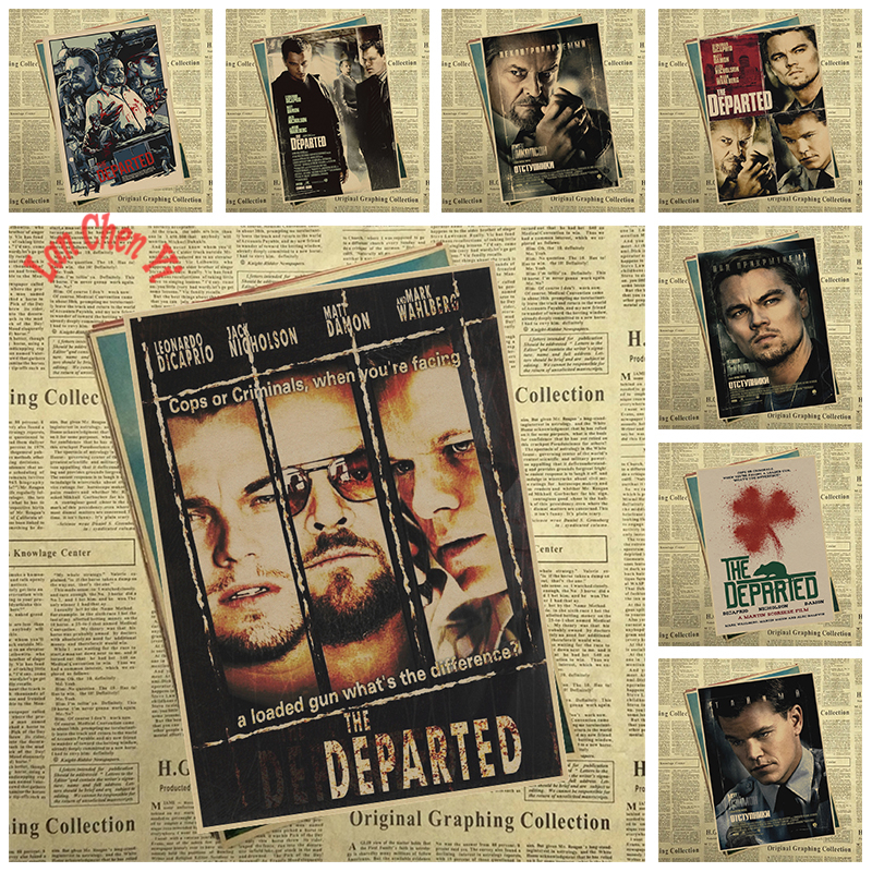 Multiple awards Classic Movie The Departed Matte Kraft Paper Poster Office Gift Room Dining Home Decor wall sticker Design