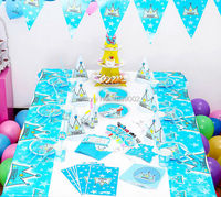 90 PCS Free Shipping For 6 Peoples Blue Prince Crown Boy Birthday Theme Party Tableware Set