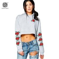 NORA TWIPS 2017 Nuevas Mujeres Hoodies Sudaderas Rose Floral Bordado Corto Del Suéter De Las Mujeres Negro Gris (S-XXL)