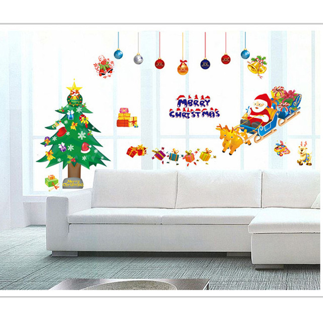 Us 4 39 Candiway Merry Christmas Living Room Kids Bedroom Wall Decorations Glass Home Decorating Wall Art Wall Sticker 50 70cm Ne113a In Wall