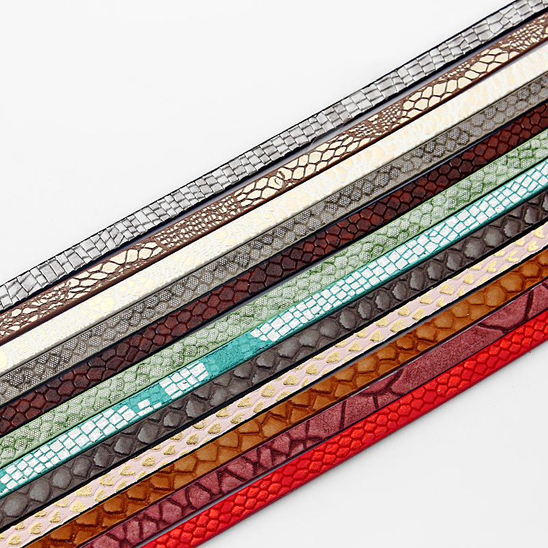 1 Meter Flat Multi Color Different Style PU Leather Cord For Bracelet Making DIY Fashion Jewelry Findings 5*2mm