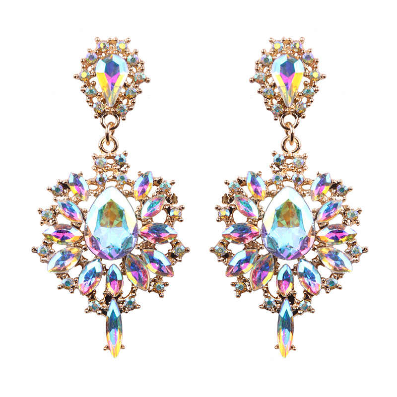 Women Drop Earrings Colorful Flower Big Brand Design Luxury Starburst Pendant Crystal Stud Gem Statement Earrings Jewelry Gifts