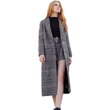 Women's Woolen Jackets 2018 Autumn Winter New Brand Ladies Gray Plaid Wool Coats Lapel Houndstooth Single Breasted Overcoat Z261(China)