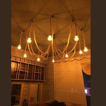 Nuovo 6/8/10/12 Luci In Stile Industria Spider Lampada A Sospensione Ufficio Negozio Di Abbigliamento Ristorante In Ferro D'epoca Corda Di Canapa Lampadario