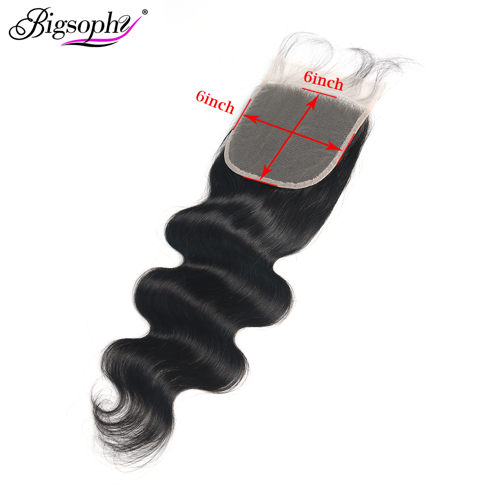Bigsophy Brazilian Hair Body Wave 6x6 Lace Closure 100% Human Remy Hair With Baby Hair Swiss Lace Natural Color 8-24inch Closure(China)