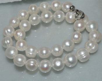 """Oferta envío gratis **aaa * AAA Natural enorme blanco 10-11mm cultivado de perlas de agua dulce collar 18"""""""