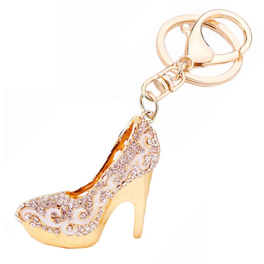 Creative Rhinestone High-heeled Shoes Keychain Novelty Car Pendant Keyring Bag Charms Keyfobs Accessories For Women Gift R087