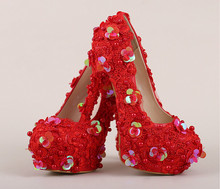 The new high with round red lace bridal shoes Fine with pearl sequins wedding shoes Waterproof shoes shallow mouth