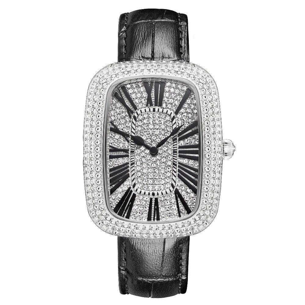 MATISSE модные Австрийские кристаллы Squzre циферблат кожаный ремешок для часов офисная мода для женщин Девушка бизнес леди кварцевые наручные ч... - 4