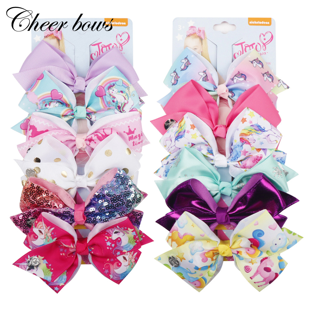 6Pcs/Card 5.5'' Jojo Siwa Large Unicorn Print Hair Bows Rainbow Ribbon Hair Clips For Girls Kid Boutique Hair Accessories