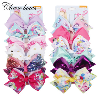 "6Pcs/Card 7"" Large Unicorn Print Hair Bows Set Rainbow Ribbon Hair Clips For Girls Kid Boutique Card Gift Hair Accessories"