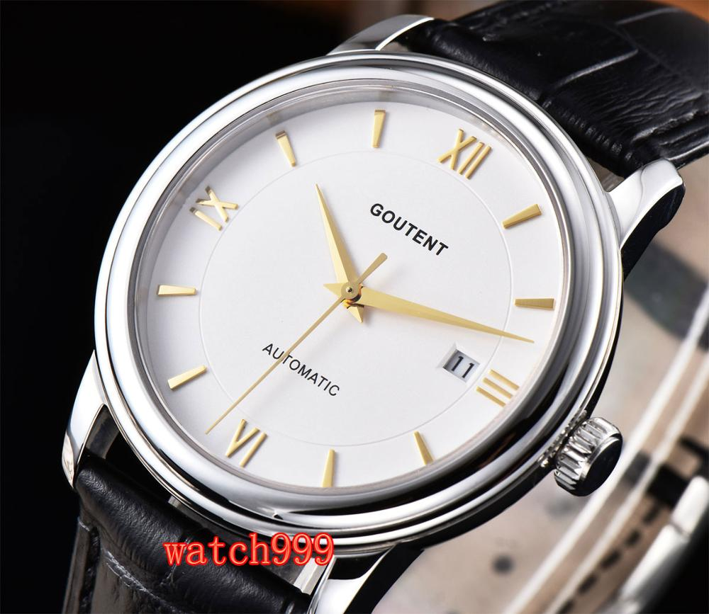 40mm Goutent White dial date Leather strap Sapphire crystal Luminous miyota Mechanical Automatic Mens Watch40mm Goutent White dial date Leather strap Sapphire crystal Luminous miyota Mechanical Automatic Mens Watch