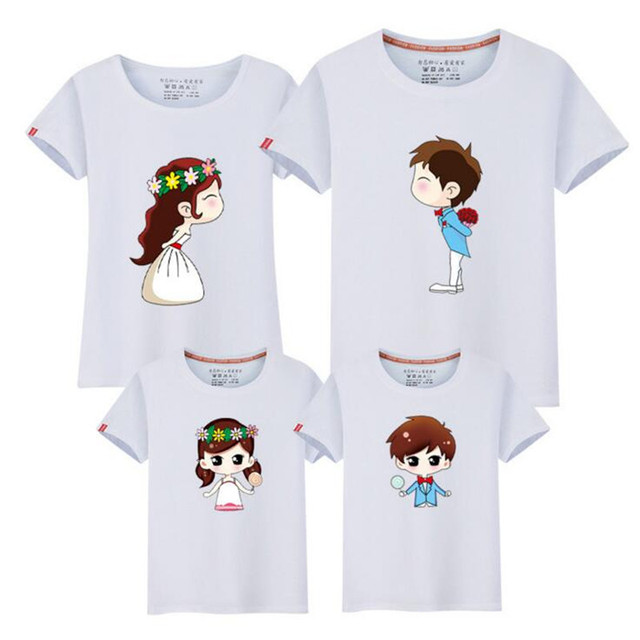 US $5 98 39% OFF|2018 Cartoon Characters Family Look T Shirts Summer Family  Matching Clothes Father Mother Kids Outfits Cotton Tees Shirts Fy007-in
