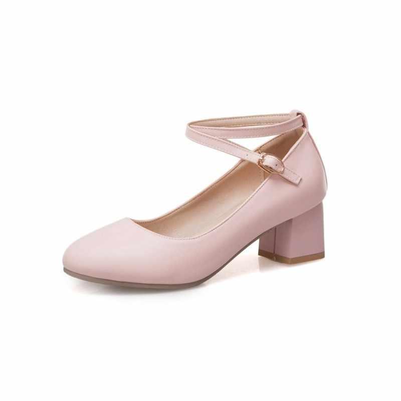 Bơm Mùa Xuân và mùa thu mới phong cách thời trang Vòng đầu Nông miệng Khóa gót Dày giữa gót chân của Phụ Nữ giày cộng với kích thước 33-43