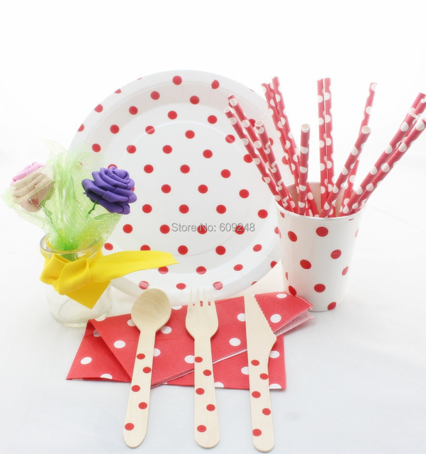 Christmas Party Supplies Decorations Red Polka Dot Party Tableware SetCheap Wooden UtensilsPaper  sc 1 st  AliExpress.com & Christmas Party Supplies Decorations Red Polka Dot Party Tableware ...
