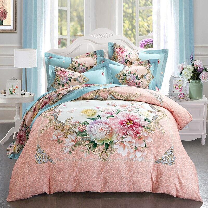 Купить с кэшбэком Hongbo 4 Pcs/Set Bedding Outlet Floral Flowers Duvet Cover With Pillowcase Wedding Bedding Set Quilt Cover