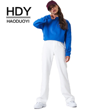 цены HDY Haoduoyi Women Embroidered Sweatshirt Preppy Style Pollovers Crew Neck 2019 Autumn New Arrival Elegant Solid Top For Female