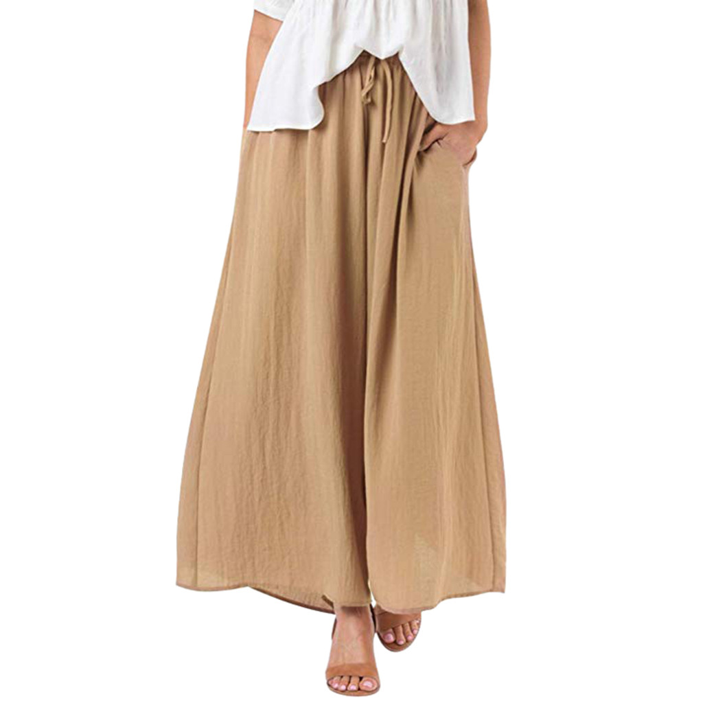 New-Trousers Leg-Pants Boho Plus-Size Casual Women Loose Solid-Color for Harem Wide title=