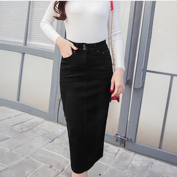 a50fa028255 2018 Denim Skirt Vintage Button High Waist Pencil Black Blue Slim Women  Skirts Plus Size S 2XL Ladies Office Sexy Jeans RQ129-in Skirts from Women s  ...