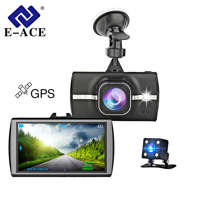 "E-ACE 3.0 ""Auto Dvr Full HD 1080 P Videorecorder Auto Camera met GPS Module Achteruitkijkspiegel Auto Dashcam Mini GPS Tracker Camera"