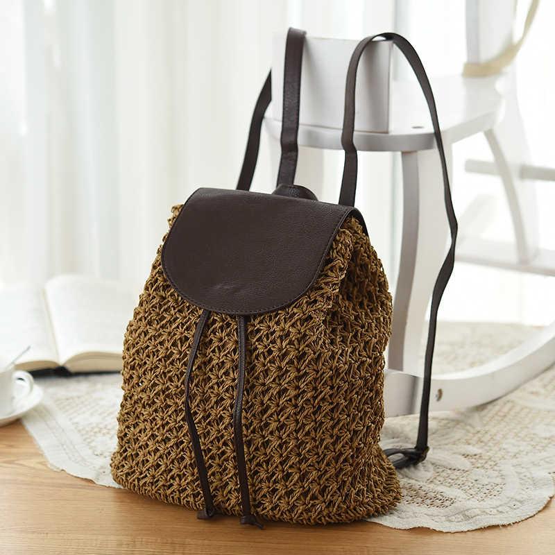 ee4b6a93bd45 2018 новые модные летние бумаги Drawstring сумка выдалбливают школьные сумки  рюкзаки Красивая пляжная сумка рюкзак для