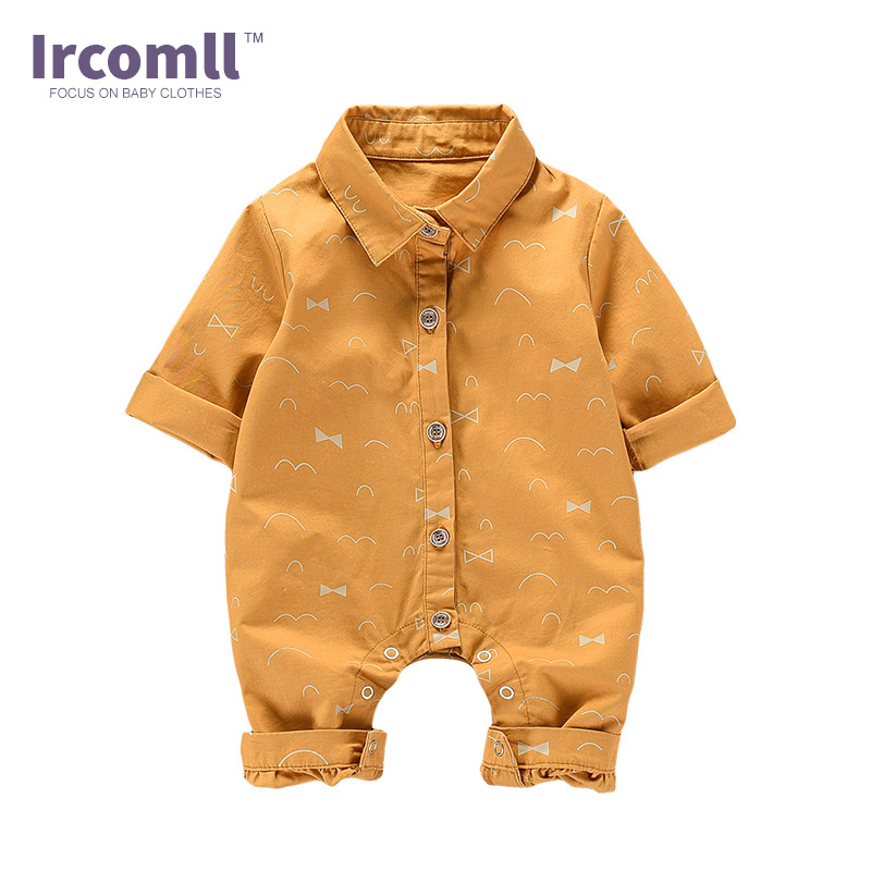 2017 Newborn Baby Rompers Long Sleeve body suit 100% Cotton Outfits Turn-down Collar Baby Boy Clothes Jumpsuit baby rompers 2016 newborn body baby boy girl clothes jumpsuit long sleeve infant onesie product turn down collar romper costumes