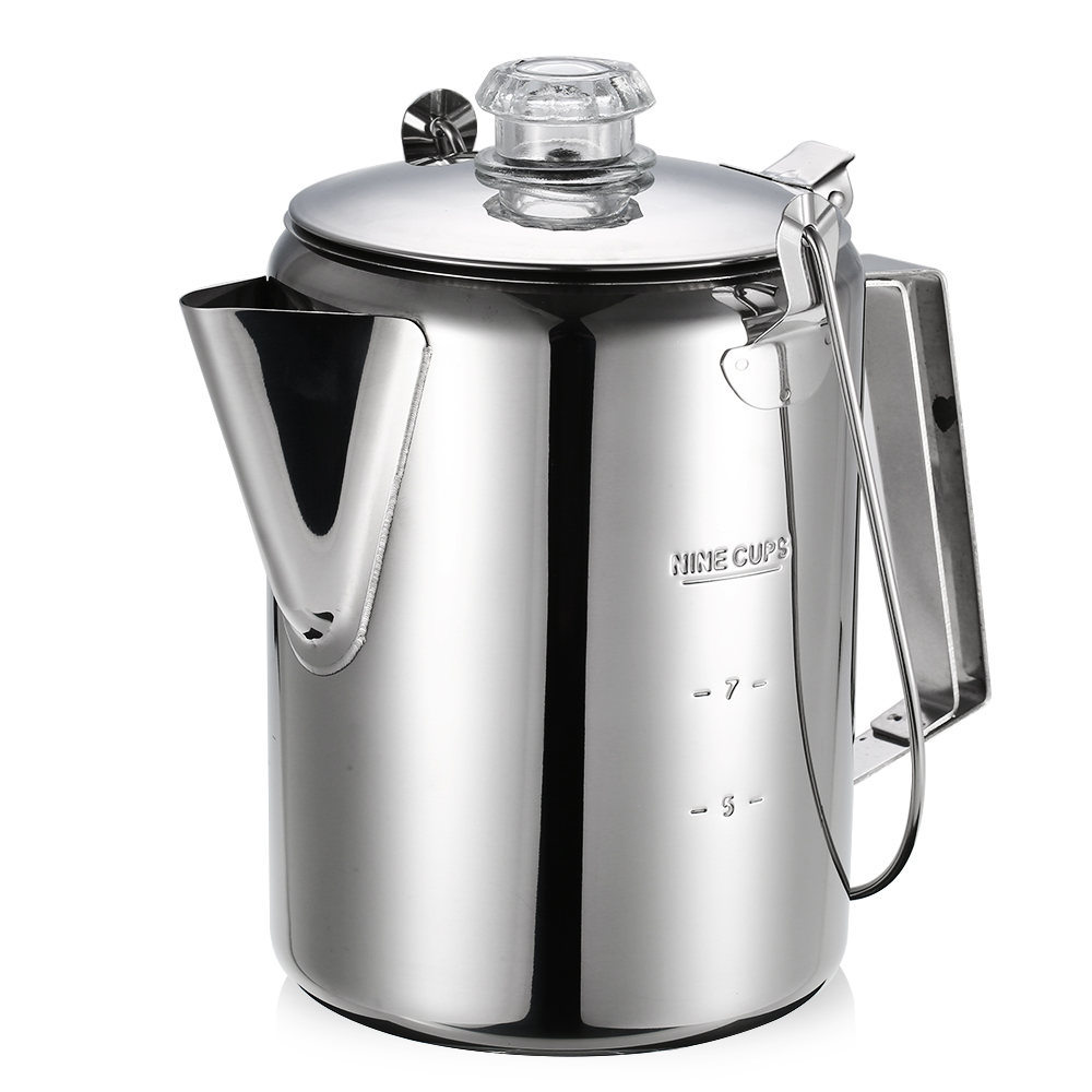Outdoor 9 Cup Stainless Steel Percolator Coffee Pot Coffee Maker for Home Kitchen Outdoor Camping Tableware Accessories 12*16 cm