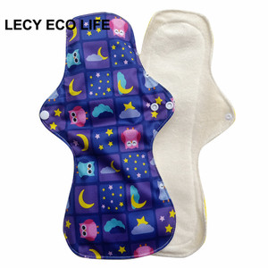 "Image 3 - Lecy Eco Life 1pc 13"" Flamingo printed night use reusable menstrual pads for heavy flow, large size breathable women cloth pads"