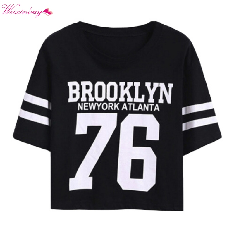 New Women Crop Top T-shirt Cool Letter Printed Printing T Shirt Tops Tee Shirt Female Clothing Apparel