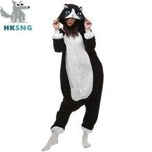 ad65c0d961ac7 HKSNG Новый животных взрослых Черный кот пижамы мультфильм белый уход за  кожей лица кошка кигуруми комбинезоны костюмы для коспл.