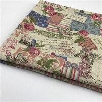 Hot Sale 155X50 CM Linen Vintage Style Rose Pattern Natural Cotton Linen Fabric Quilting Patchwork Textile