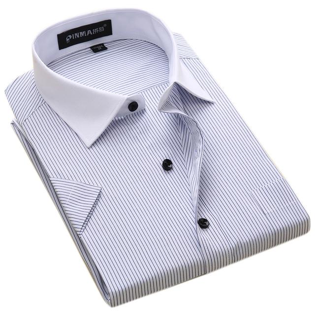 Verano Más tamaño 6XL Hombres de Negocios Chino de Calidad de Manga Corta Slim fit camisas Hombres Camisas de Trabajo Formal Camisa Ocasional Sociales camisetas