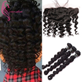 Malaysian Loose Wave with Frontal Closure 3 Bundles Loose Wave With Frontal Peerless Virgin Hair with Frontal Rosa Hair Products