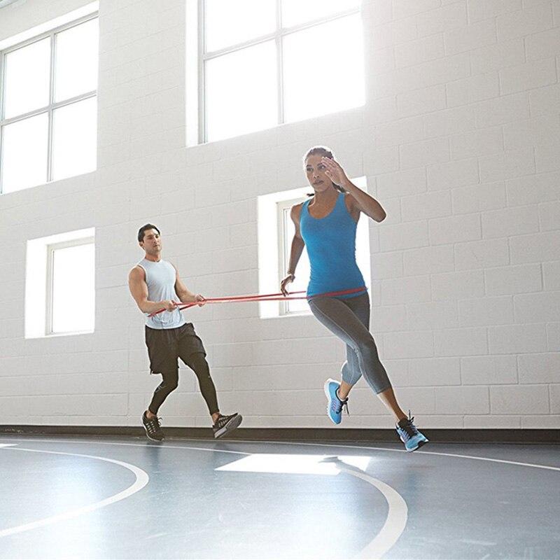Bandes de résistance de forme physique 4.08 m bandes de traction en caoutchouc équipement de musculation de gymnastique courroie de boucle de bande de Latex de puissance pour le Double