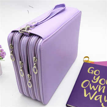 PU Leather School Pencil Case 184 Holes Large Capacity Colored Pencil Bag Box Multi-functional Pencilcase For Art Supplies Gift