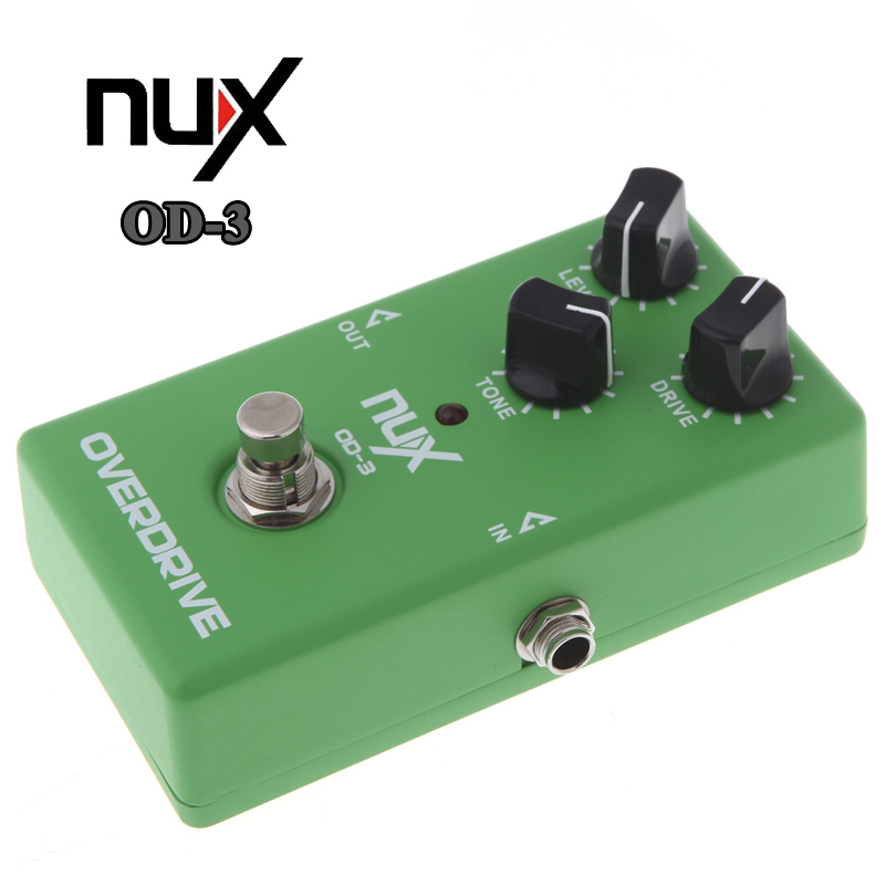 NUX OD-3 Overdrive Electric Guitar Effect Pedal Tube Bypass Green Free Shipping mooer green mile overdrive guitar effect pedal micro effectstrue bypass with free connector and footswitch topper