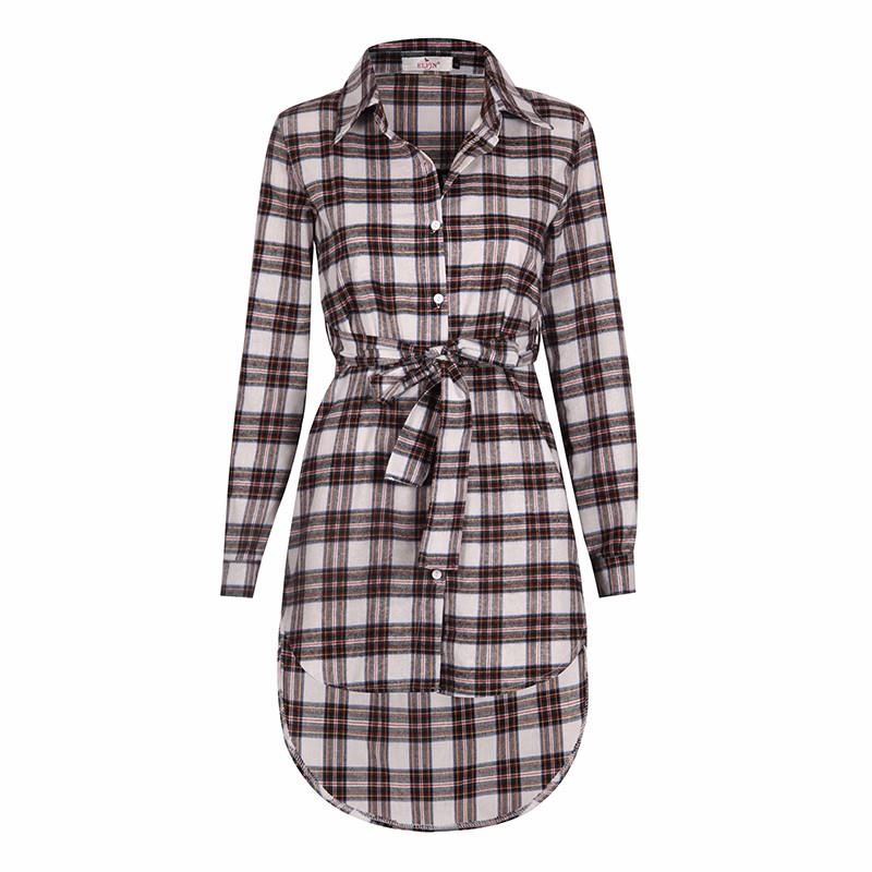 Blaus Wanita Long Sleeve Plaid Shirts Turn Down Shirt Collar Kasual - Pakaian wanita - Foto 6