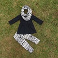 baby girls fall clothes kids 3 pieces scarf sets top black with black and white Azect pant sets kids long sleeve sets