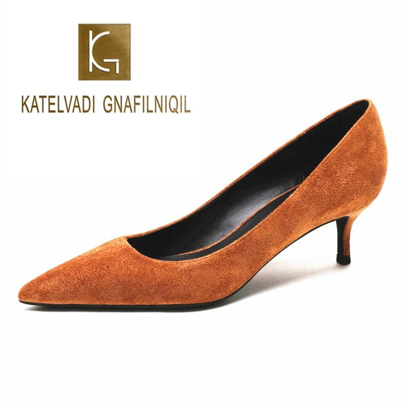 KATELVADI Shoes Woman Brown Ladies Pumps Flock 5CM Med Heels Zapatos De Mujer Pointed Toe Office