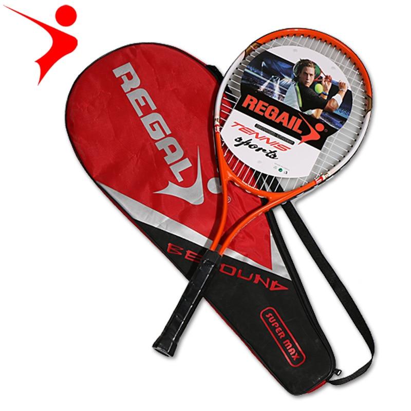 1pcs Red Blue 67X27cm Quality Adult Training Novice Practice Aluminum Tennis Racket With Tennis Racket Storage Bag