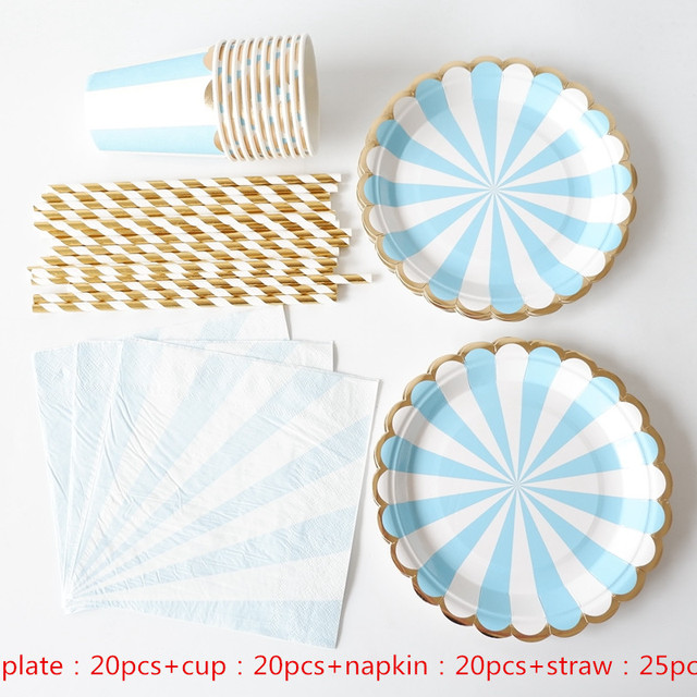 85pcs Gold Blocking Blue Striped Disposable Paper Cup Paper Plate Wedding Favors Drinking Straws Table Napkin Party Supplies
