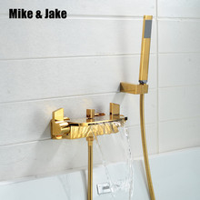 Luxus gold badewanne wasserhahn wand montiert wasserfall mixier ventil badewanne wasserfall dusche dusche kalten und heißen bad wasserhahn MJ521