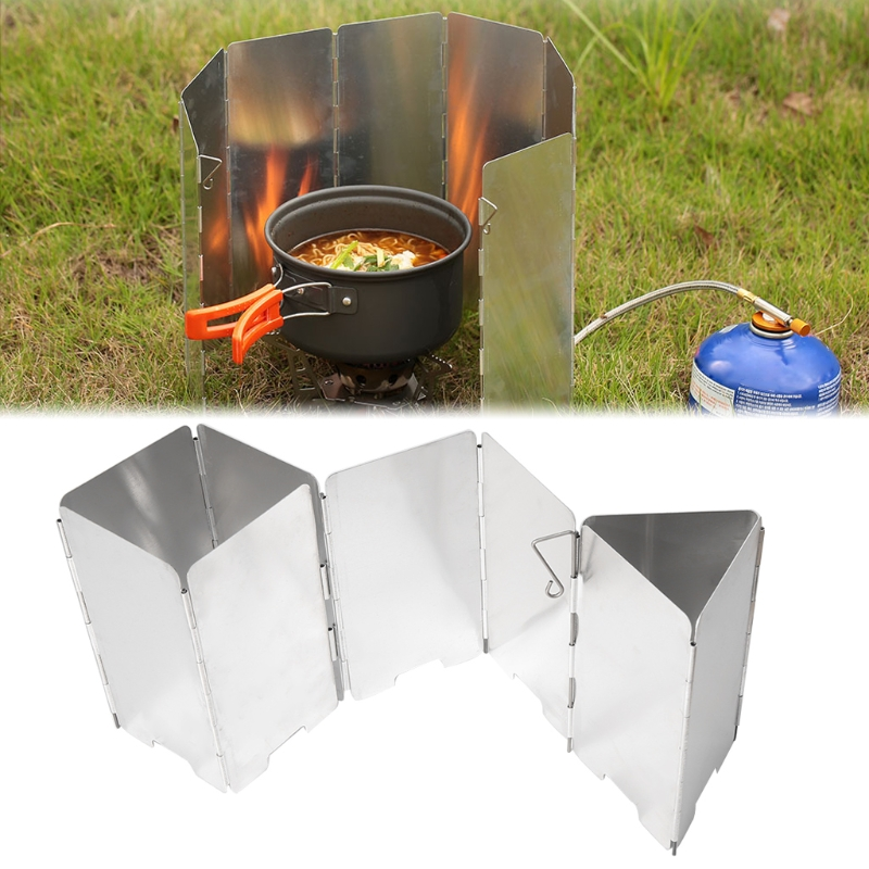 9 Plates Foldable Outdoor Camping Cooking Picnic Gas Stove Wind Shield Screen Cooker Windshield