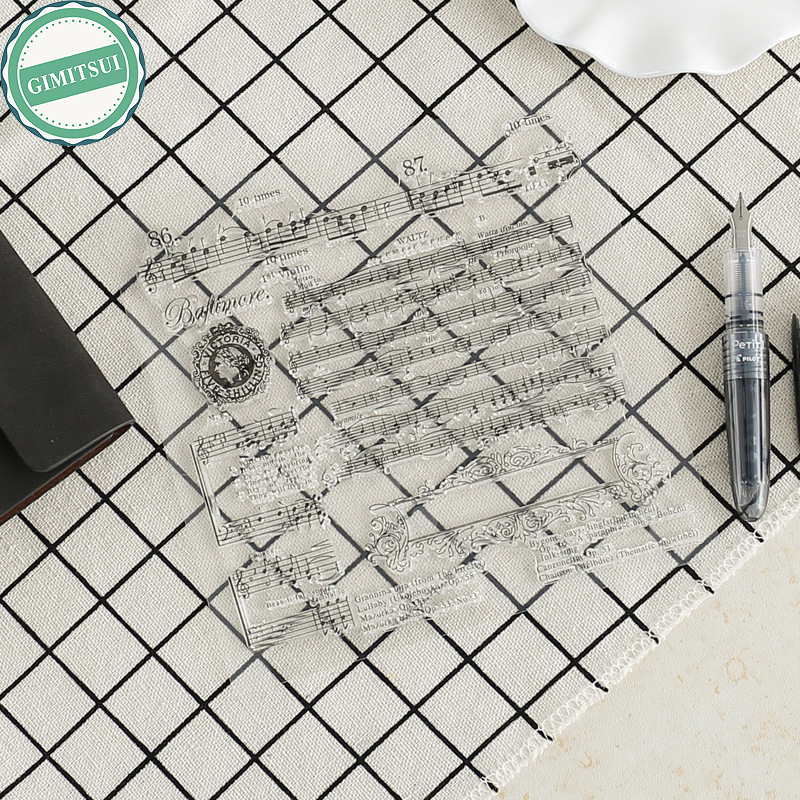 Clear Silicone Stamp Seal Sheet Card Making Scrapbooking Home Decor Old Script Music Note Photo Album Paper Diary Craft Handbook