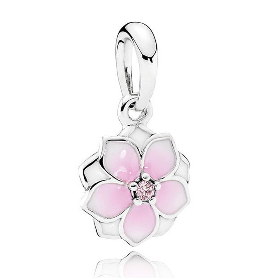 Beads Spinner Magnolia Bloom Dangling Charm Beads Fit Pandora Charm Bracelets&bangles For Women Jewelry Diy Wholesale