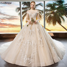 luxurious Wedding Dress Netting Scoop Neck Cap Sleeve Applique Beading Floor length Chapel Train Bridal Gown