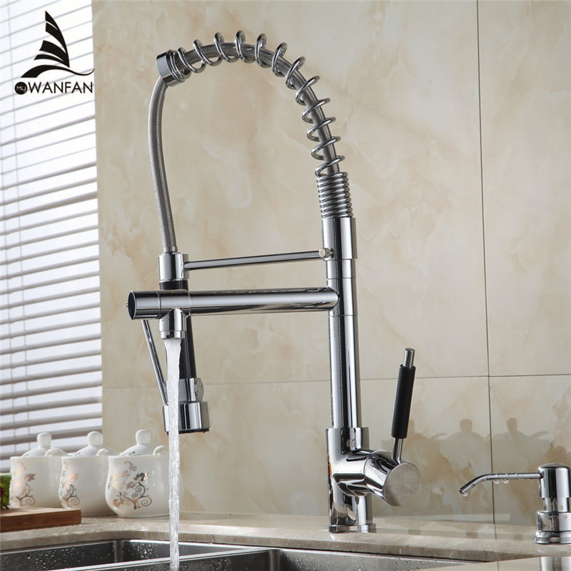 Kitchen Faucet Chrome Silver Brass Pull Out Spring Kitchen Sink Faucet Swivel Spout Tall Vessel Mixer Tap Torneira Cozinha 50729 golden brass kitchen faucet dual handles vessel sink mixer tap swivel spout w pure water tap