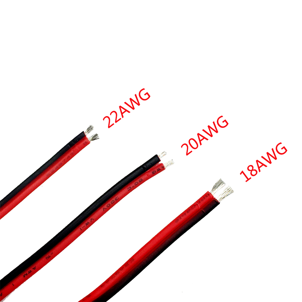 18 20 22 Awg Tinned Copper Electric Wire 2pin Red Black Copper Cable Insulated  Electrical Extend Cord